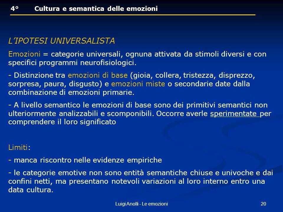 20Luigi Anolli - Le emozioni 4°Cultura e semantica delle emozioni 4°Cultura e semantica delle emozioni LIPOTESI UNIVERSALISTA Emozioni = categorie uni