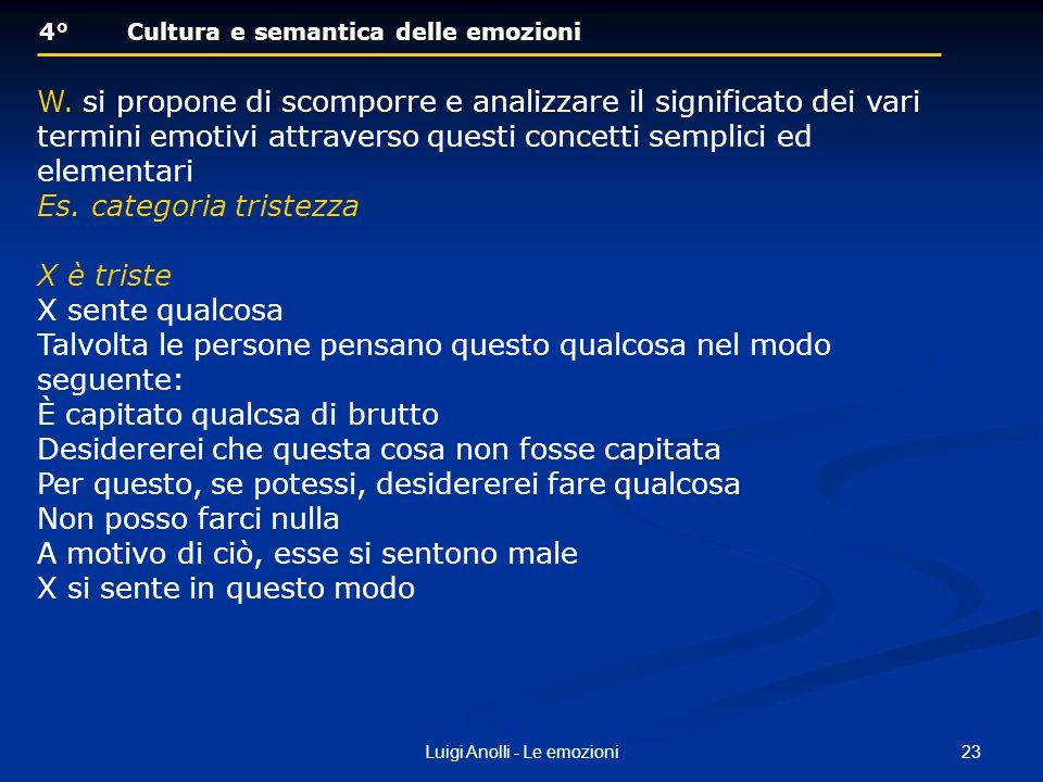 23Luigi Anolli - Le emozioni 4°Cultura e semantica delle emozioni 4°Cultura e semantica delle emozioni W. si propone di scomporre e analizzare il sign