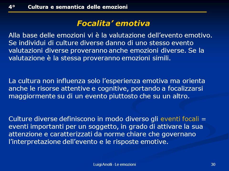 30Luigi Anolli - Le emozioni 4°Cultura e semantica delle emozioni 4°Cultura e semantica delle emozioni Focalita emotiva Alla base delle emozioni vi è