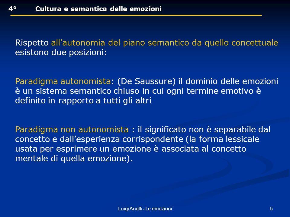 5Luigi Anolli - Le emozioni 4°Cultura e semantica delle emozioni 4°Cultura e semantica delle emozioni Rispetto allautonomia del piano semantico da que