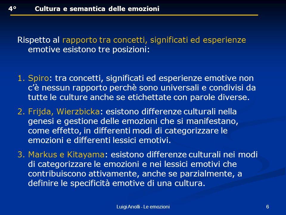 6Luigi Anolli - Le emozioni 4°Cultura e semantica delle emozioni 4°Cultura e semantica delle emozioni Rispetto al rapporto tra concetti, significati e