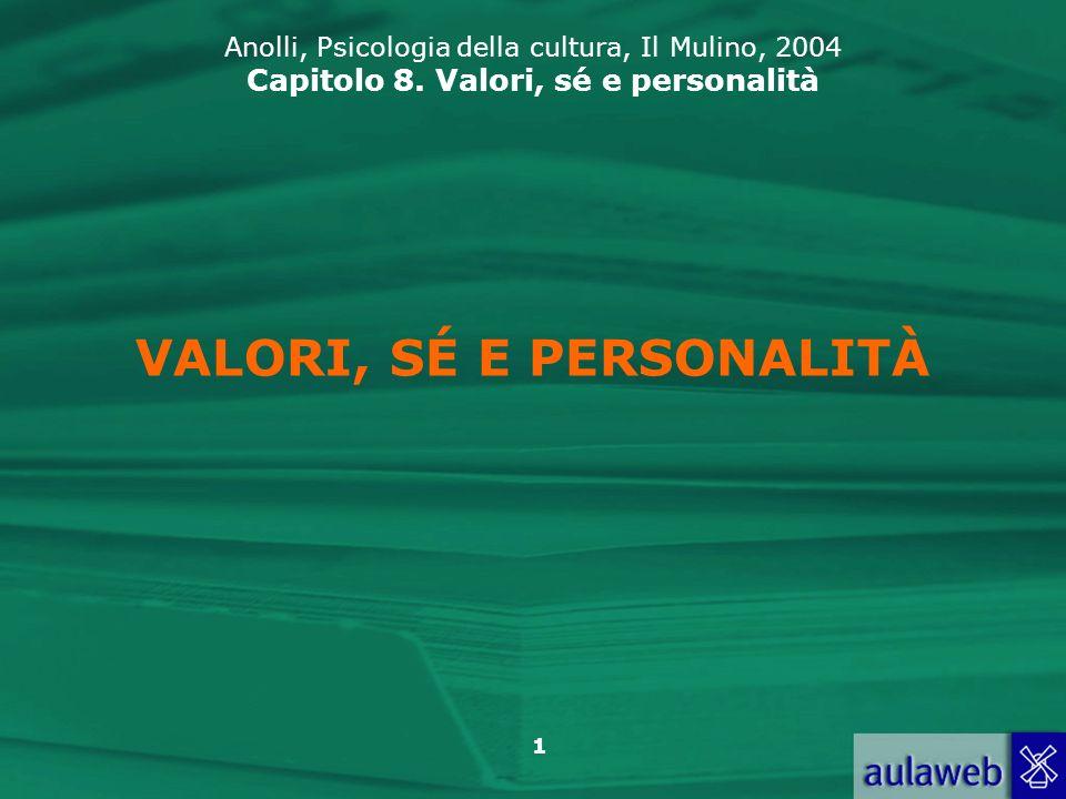 1 VALORI, SÉ E PERSONALITÀ Anolli, Psicologia della cultura, Il Mulino, 2004 Capitolo 8.