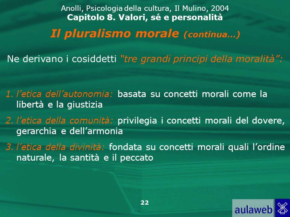 22 Anolli, Psicologia della cultura, Il Mulino, 2004 Capitolo 8.