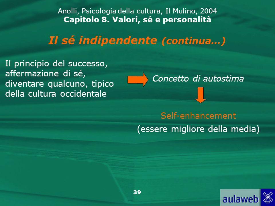 39 Anolli, Psicologia della cultura, Il Mulino, 2004 Capitolo 8.