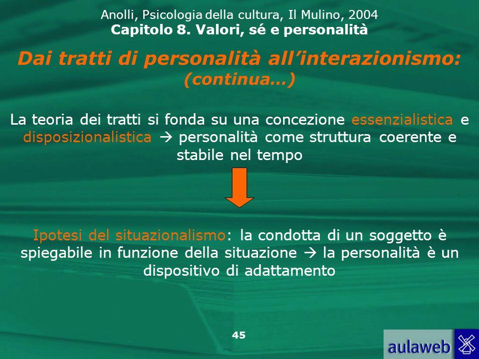 45 Anolli, Psicologia della cultura, Il Mulino, 2004 Capitolo 8.
