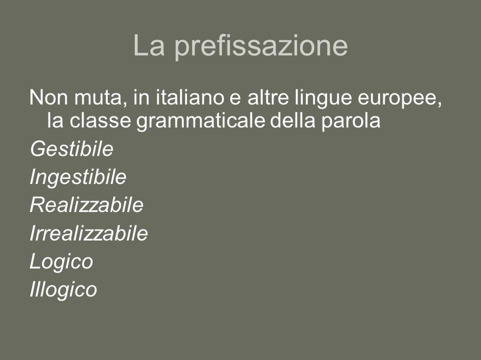 La prefissazione Non muta, in italiano e altre lingue europee, la classe grammaticale della parola Gestibile Ingestibile Realizzabile Irrealizzabile L