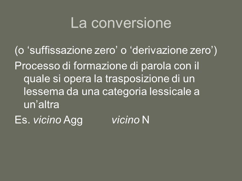 La conversione (o suffissazione zero o derivazione zero) Processo di formazione di parola con il quale si opera la trasposizione di un lessema da una