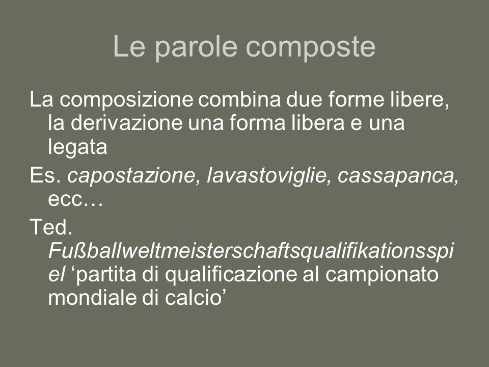 Le parole composte La composizione combina due forme libere, la derivazione una forma libera e una legata Es. capostazione, lavastoviglie, cassapanca,