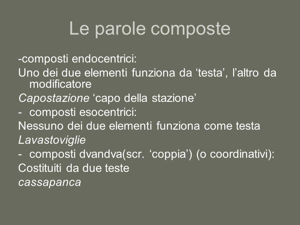 Le parole composte -composti endocentrici: Uno dei due elementi funziona da testa, laltro da modificatore Capostazione capo della stazione -composti e