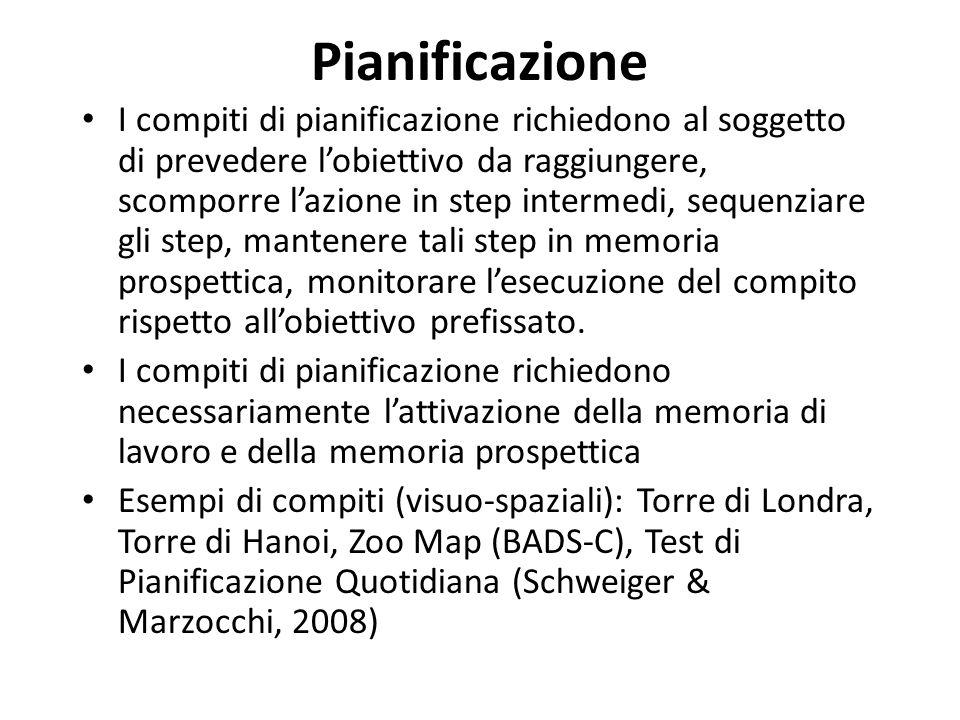 Pianificazione I compiti di pianificazione richiedono al soggetto di prevedere lobiettivo da raggiungere, scomporre lazione in step intermedi, sequenz