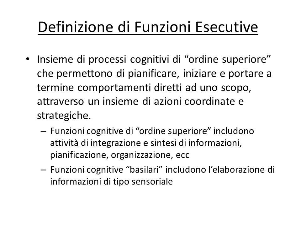Definizione di Funzioni Esecutive Insieme di processi cognitivi di ordine superiore che permettono di pianificare, iniziare e portare a termine compor