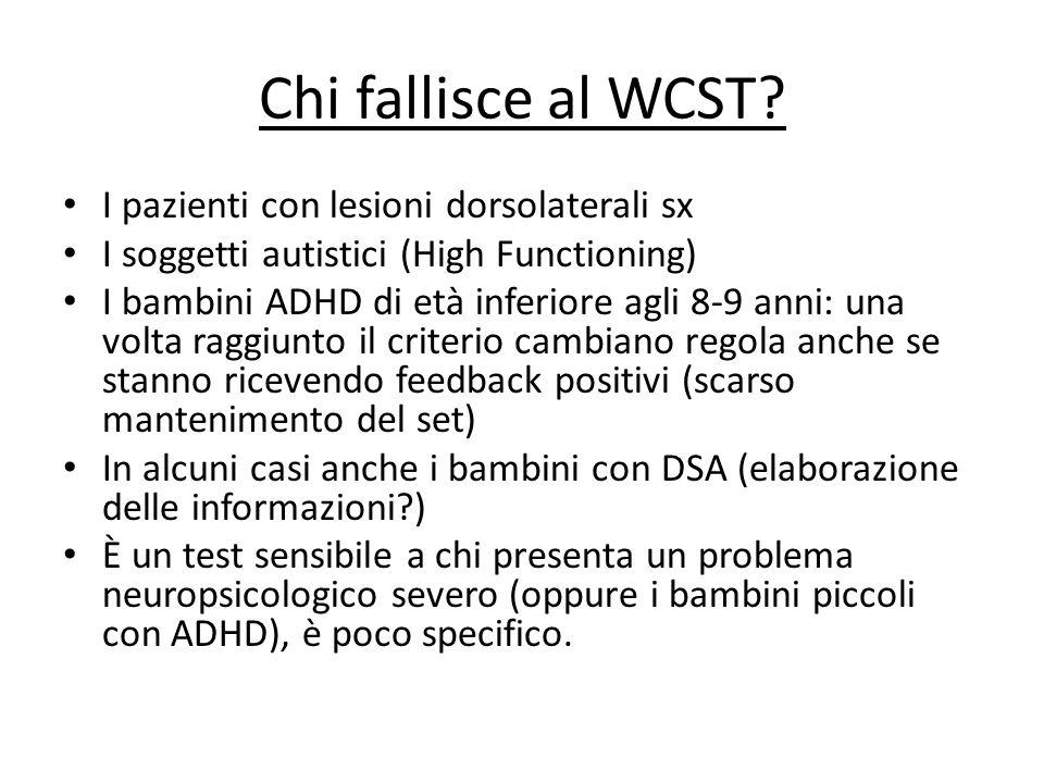 Chi fallisce al WCST? I pazienti con lesioni dorsolaterali sx I soggetti autistici (High Functioning) I bambini ADHD di età inferiore agli 8-9 anni: u