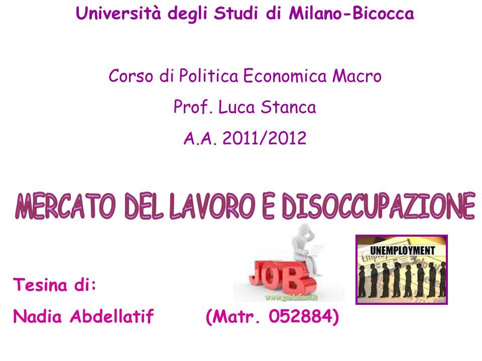 Università degli Studi di Milano-Bicocca Corso di Politica Economica Macro Prof. Luca Stanca A.A. 2011/2012 Tesina di: Nadia Abdellatif (Matr. 052884)