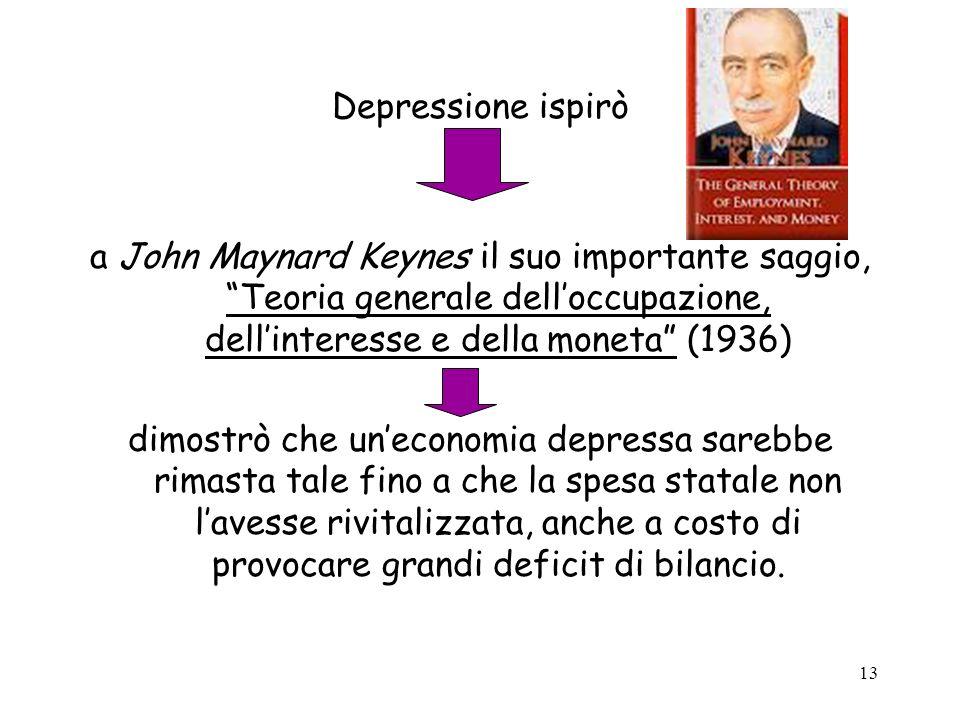 13 Depressione ispirò a John Maynard Keynes il suo importante saggio, Teoria generale delloccupazione, dellinteresse e della moneta (1936) dimostrò ch