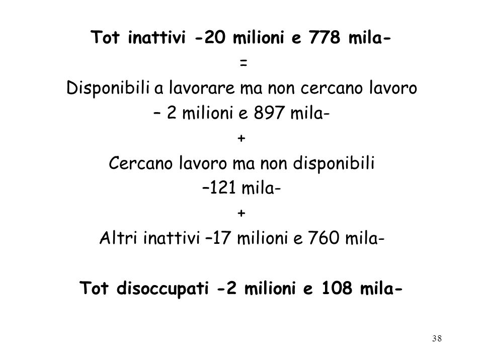 38 Tot inattivi -20 milioni e 778 mila- = Disponibili a lavorare ma non cercano lavoro – 2 milioni e 897 mila- + Cercano lavoro ma non disponibili –12