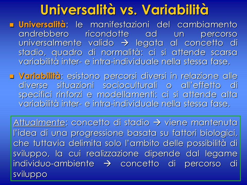Universalità vs. Variabilità n Universalità : le manifestazioni del cambiamento andrebbero ricondotte ad un percorso universalmente valido legata al c