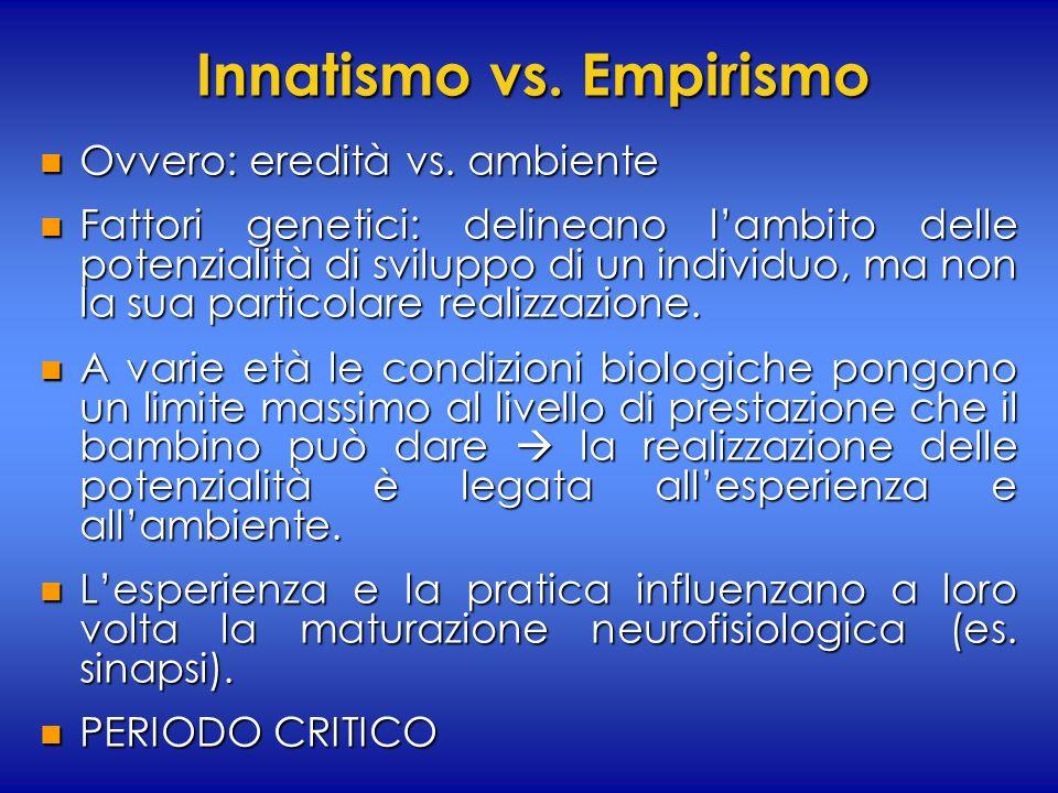 Innatismo vs. Empirismo n Ovvero: eredità vs. ambiente n Fattori genetici: delineano lambito delle potenzialità di sviluppo di un individuo, ma non la