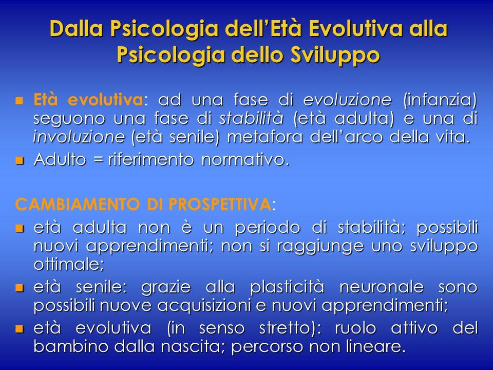 Dalla Psicologia dellEtà Evolutiva alla Psicologia dello Sviluppo n ad una fase di evoluzione (infanzia) seguono una fase di stabilità (età adulta) e