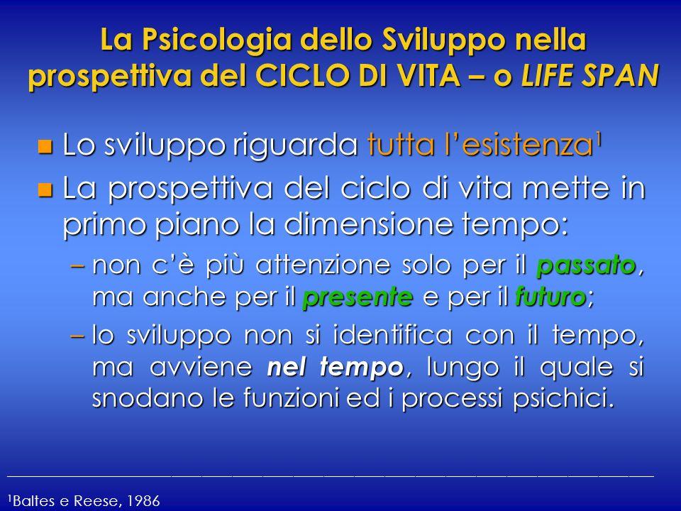 La Psicologia dello Sviluppo nella prospettiva del CICLO DI VITA – o LIFE SPAN n Lo sviluppo riguarda tutta lesistenza 1 n La prospettiva del ciclo di