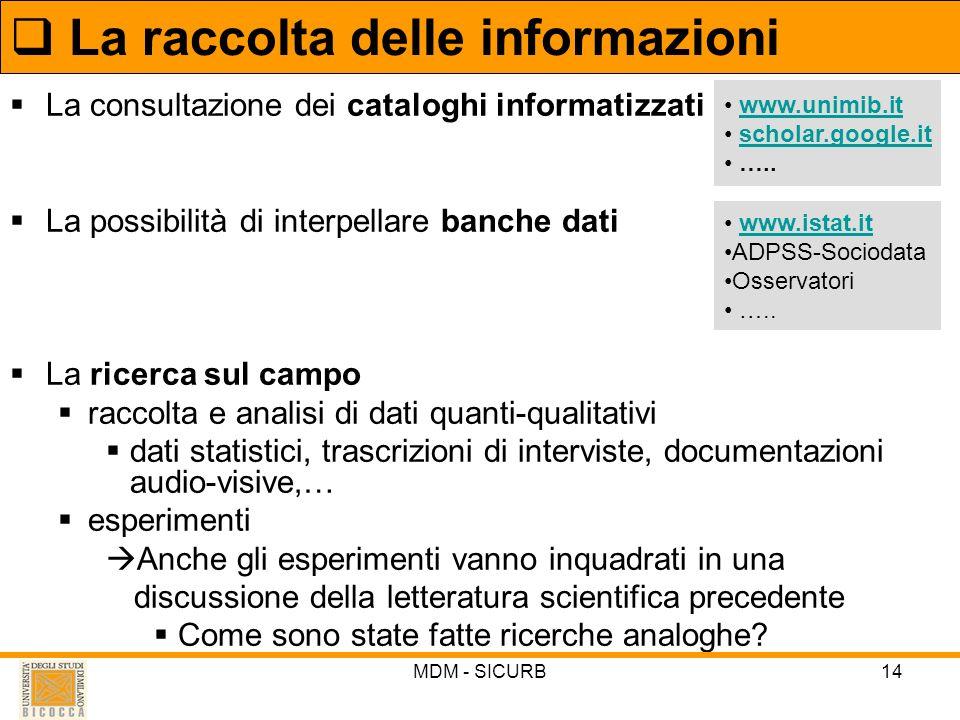 MDM - SICURB14 La consultazione dei cataloghi informatizzati La possibilità di interpellare banche dati La ricerca sul campo raccolta e analisi di dat
