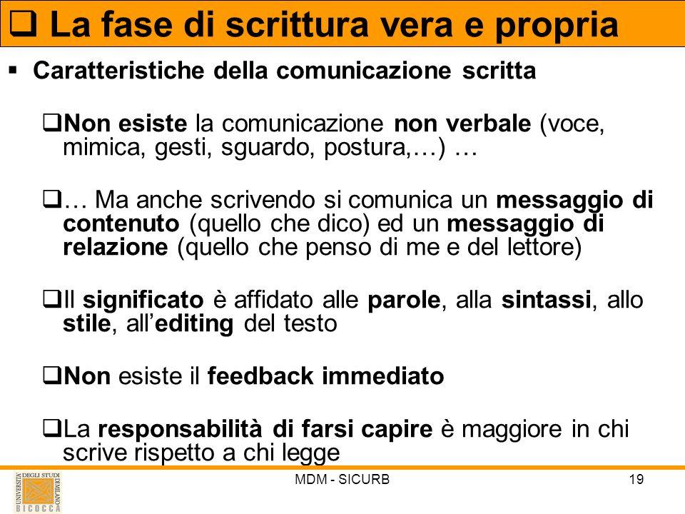 MDM - SICURB19 Caratteristiche della comunicazione scritta Non esiste la comunicazione non verbale (voce, mimica, gesti, sguardo, postura,…) … … Ma an