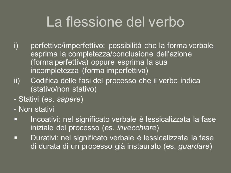 La flessione del verbo Risultativi: il verbo sottolinea il tratto conclusivo del processo (es.