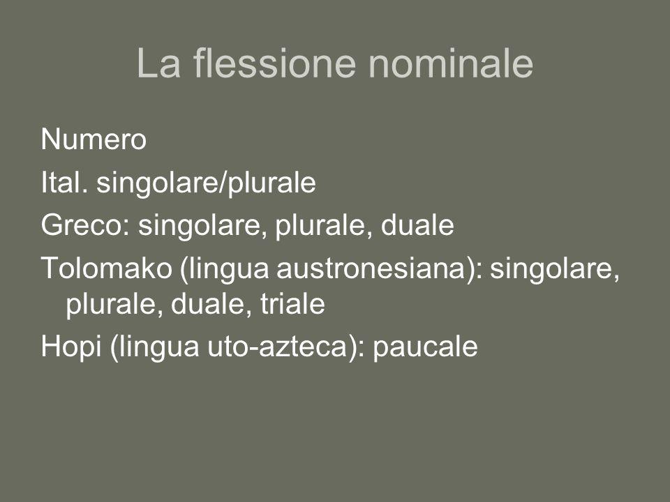 La flessione nominale Caso Mette in relazione la forma nominale con la funzione sintattica che ricopre nella frase Ital.