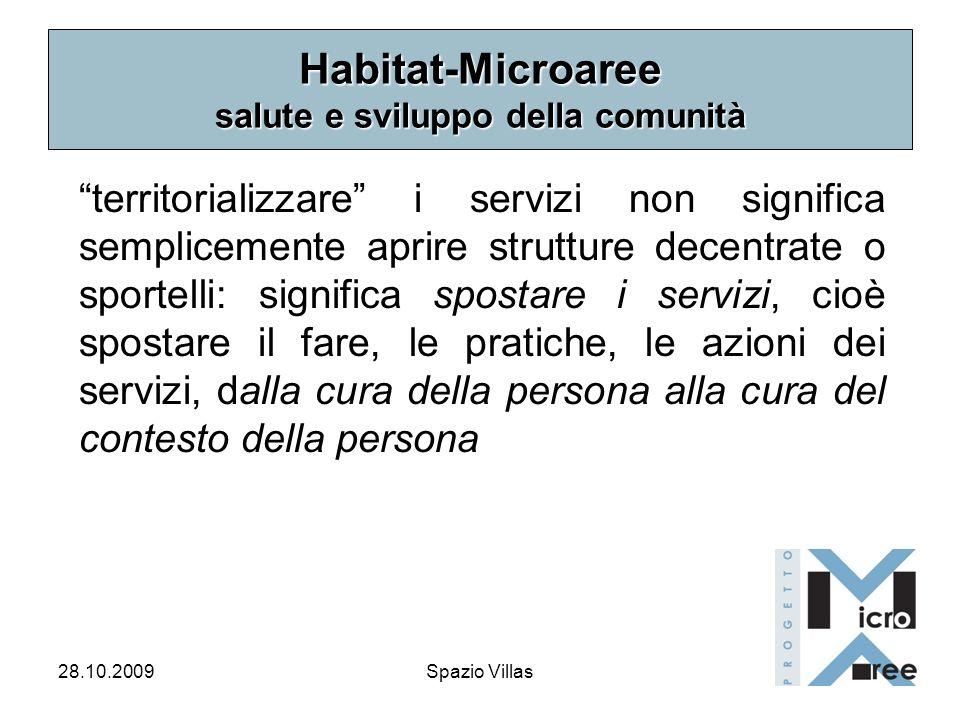 28.10.2009Spazio Villas Habitat-Microaree salute e sviluppo della comunità territorializzare i servizi non significa semplicemente aprire strutture de