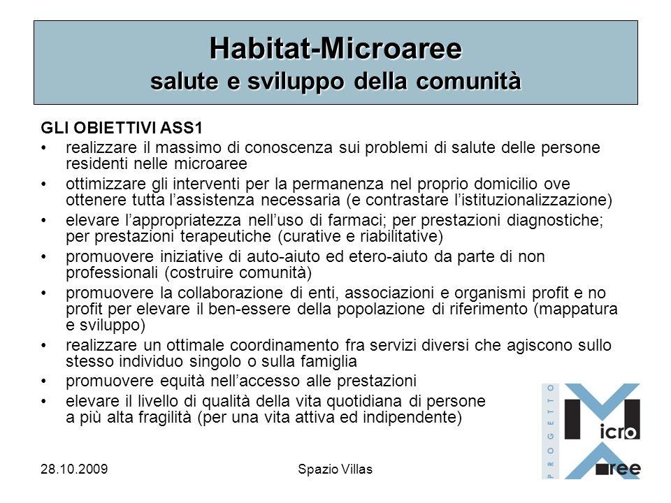 28.10.2009Spazio Villas Habitat-Microaree salute e sviluppo della comunità GLI OBIETTIVI ASS1 realizzare il massimo di conoscenza sui problemi di salu