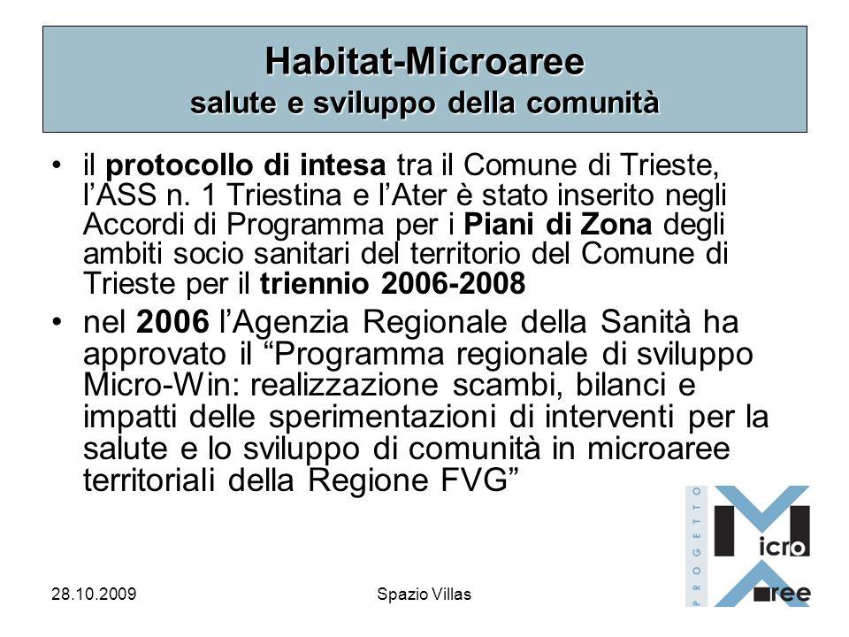 28.10.2009Spazio Villas Habitat-Microaree salute e sviluppo della comunità il protocollo di intesa tra il Comune di Trieste, lASS n. 1 Triestina e lAt