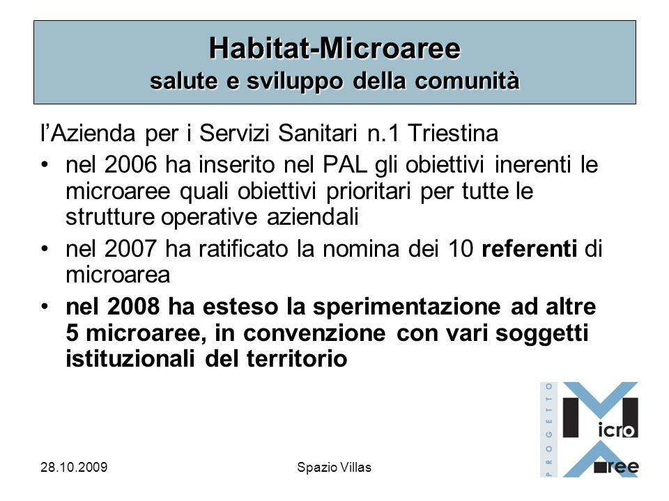 28.10.2009Spazio Villas Habitat-Microaree salute e sviluppo della comunità lAzienda per i Servizi Sanitari n.1 Triestina nel 2006 ha inserito nel PAL