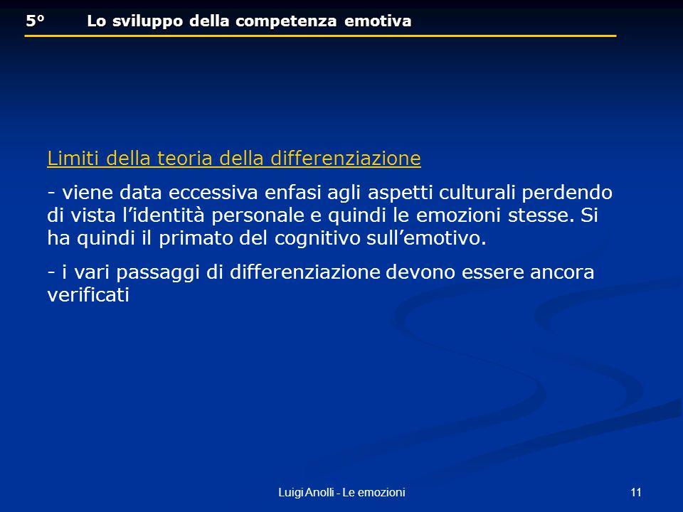 11Luigi Anolli - Le emozioni 5° Lo sviluppo della competenza emotiva 5° Lo sviluppo della competenza emotiva Limiti della teoria della differenziazion