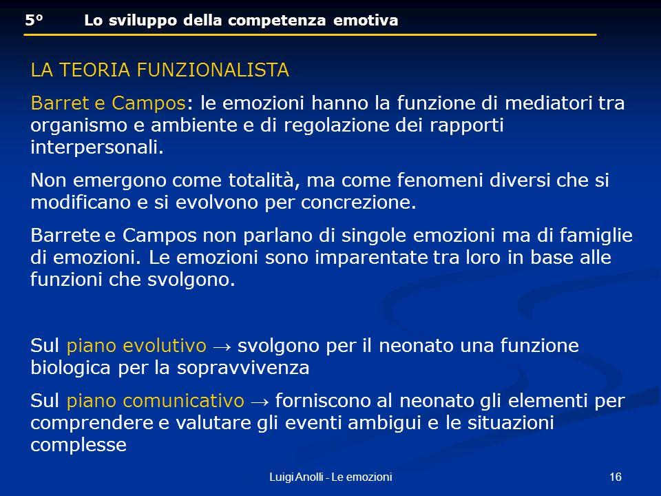 16Luigi Anolli - Le emozioni 5° Lo sviluppo della competenza emotiva 5° Lo sviluppo della competenza emotiva LA TEORIA FUNZIONALISTA Barret e Campos: