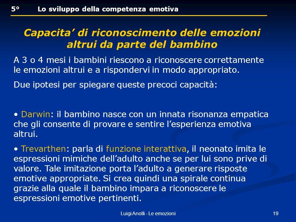 19Luigi Anolli - Le emozioni 5° Lo sviluppo della competenza emotiva 5° Lo sviluppo della competenza emotiva Capacita di riconoscimento delle emozioni