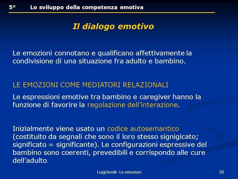 20Luigi Anolli - Le emozioni 5° Lo sviluppo della competenza emotiva 5° Lo sviluppo della competenza emotiva Il dialogo emotivo Le emozioni connotano