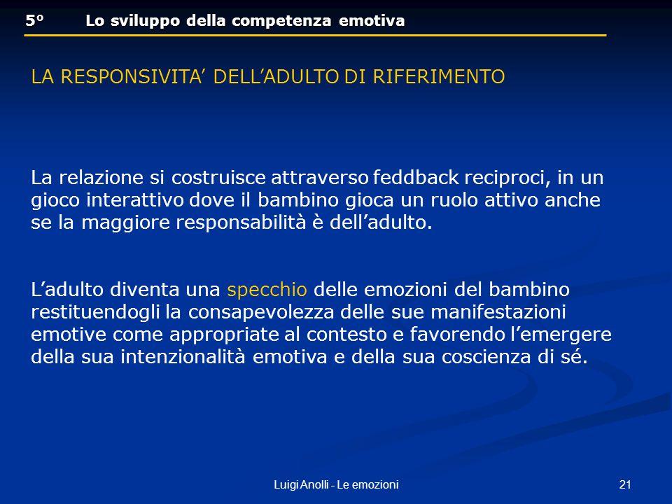 21Luigi Anolli - Le emozioni 5° Lo sviluppo della competenza emotiva 5° Lo sviluppo della competenza emotiva LA RESPONSIVITA DELLADULTO DI RIFERIMENTO