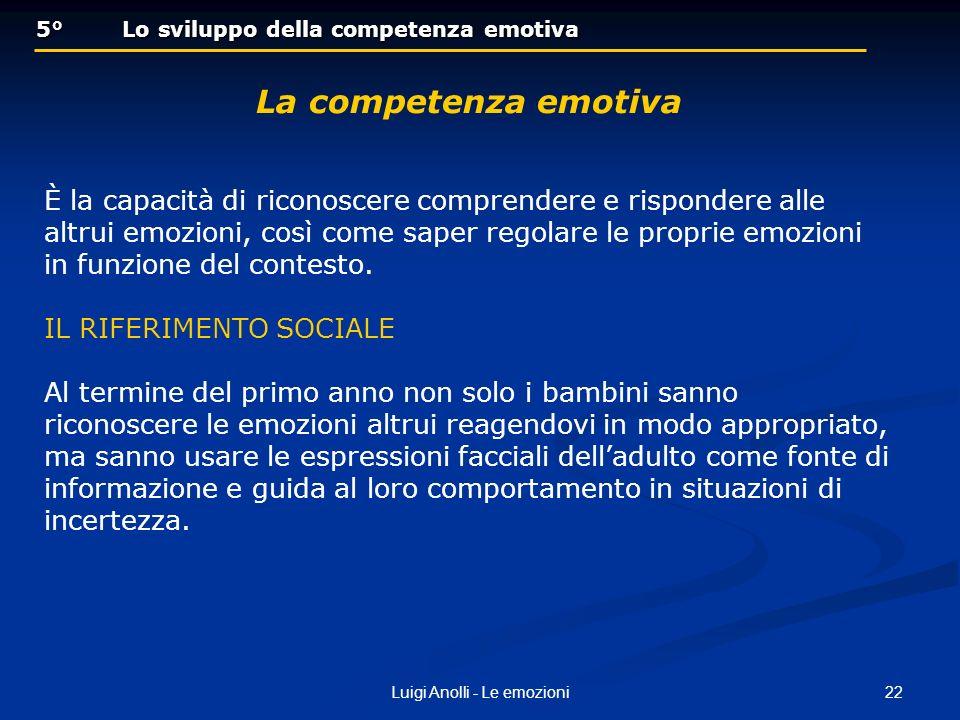 22Luigi Anolli - Le emozioni 5° Lo sviluppo della competenza emotiva 5° Lo sviluppo della competenza emotiva La competenza emotiva È la capacità di ri