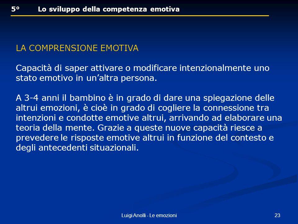 23Luigi Anolli - Le emozioni 5° Lo sviluppo della competenza emotiva 5° Lo sviluppo della competenza emotiva LA COMPRENSIONE EMOTIVA Capacità di saper