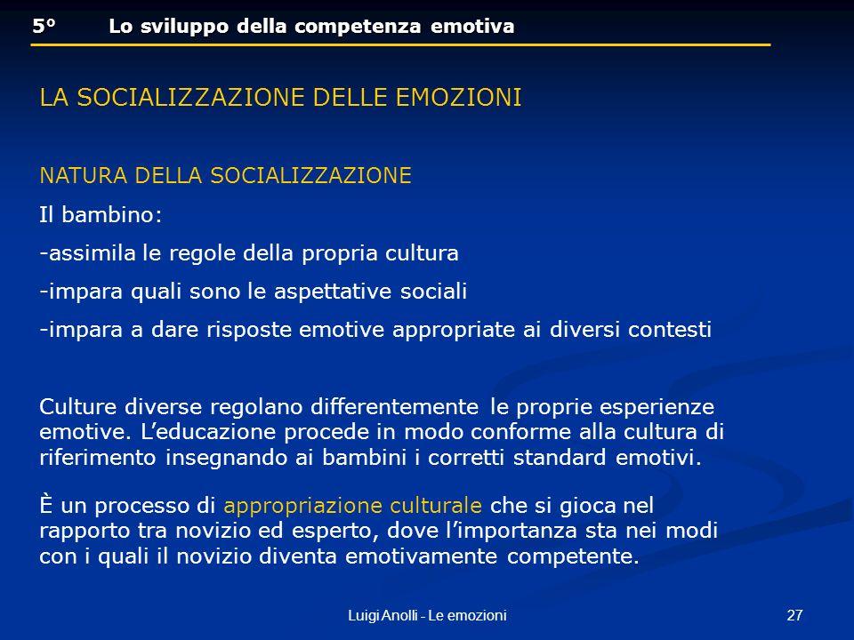 27Luigi Anolli - Le emozioni 5° Lo sviluppo della competenza emotiva 5° Lo sviluppo della competenza emotiva LA SOCIALIZZAZIONE DELLE EMOZIONI NATURA