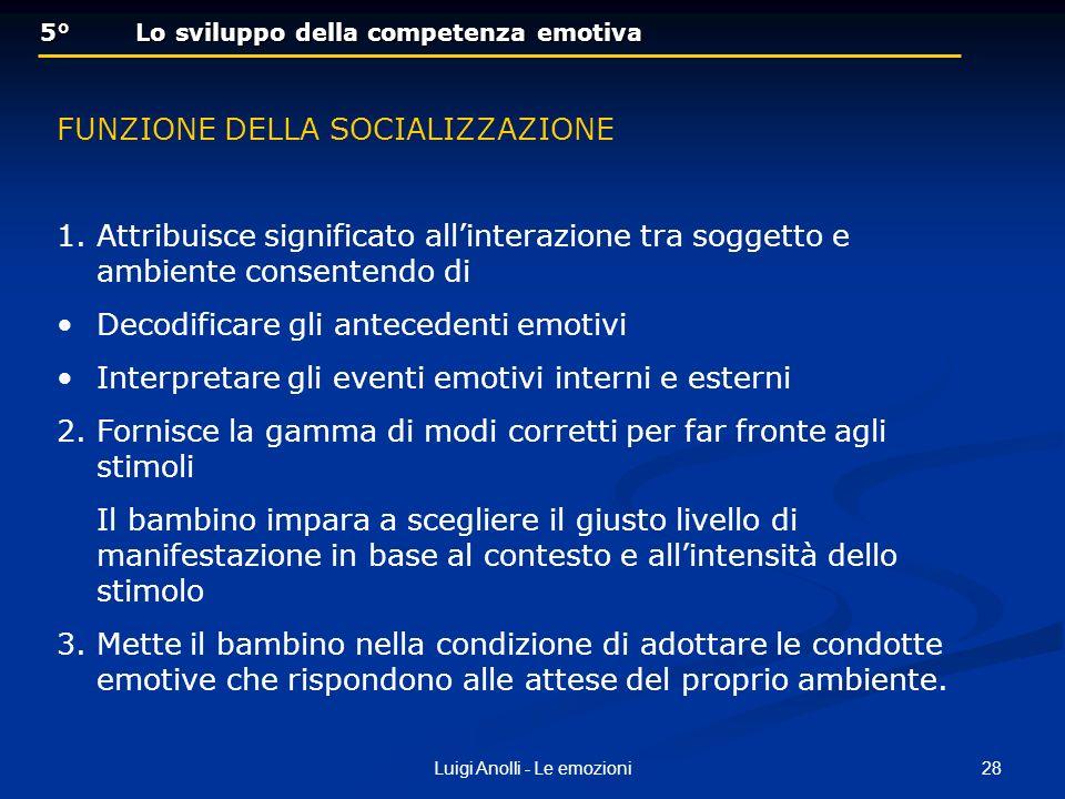 28Luigi Anolli - Le emozioni 5° Lo sviluppo della competenza emotiva 5° Lo sviluppo della competenza emotiva FUNZIONE DELLA SOCIALIZZAZIONE 1.Attribui