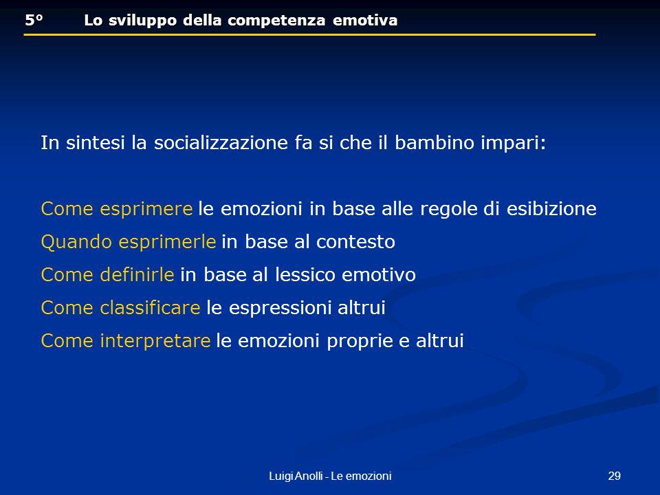 29Luigi Anolli - Le emozioni 5° Lo sviluppo della competenza emotiva 5° Lo sviluppo della competenza emotiva In sintesi la socializzazione fa si che i