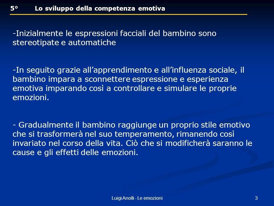 3Luigi Anolli - Le emozioni 5° Lo sviluppo della competenza emotiva 5° Lo sviluppo della competenza emotiva -Inizialmente le espressioni facciali del