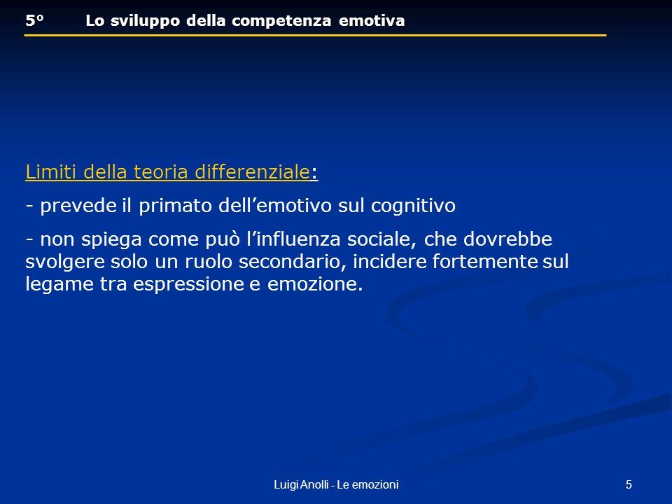 5Luigi Anolli - Le emozioni 5° Lo sviluppo della competenza emotiva 5° Lo sviluppo della competenza emotiva Limiti della teoria differenziale: - preve