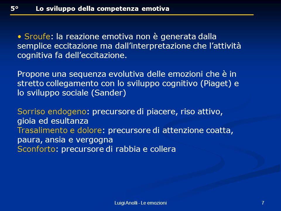 7Luigi Anolli - Le emozioni 5° Lo sviluppo della competenza emotiva 5° Lo sviluppo della competenza emotiva Sroufe: la reazione emotiva non è generata
