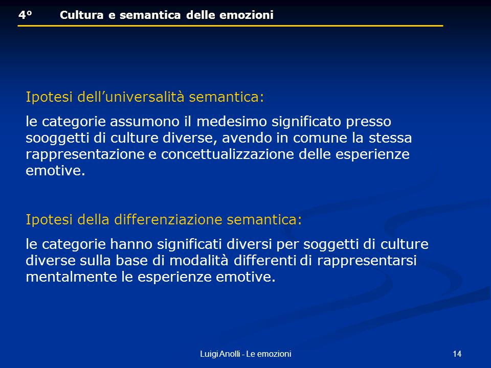 14Luigi Anolli - Le emozioni 4°Cultura e semantica delle emozioni 4°Cultura e semantica delle emozioni Ipotesi delluniversalità semantica: le categorie assumono il medesimo significato presso sooggetti di culture diverse, avendo in comune la stessa rappresentazione e concettualizzazione delle esperienze emotive.