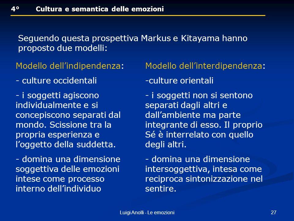 27Luigi Anolli - Le emozioni 4°Cultura e semantica delle emozioni 4°Cultura e semantica delle emozioni Seguendo questa prospettiva Markus e Kitayama h