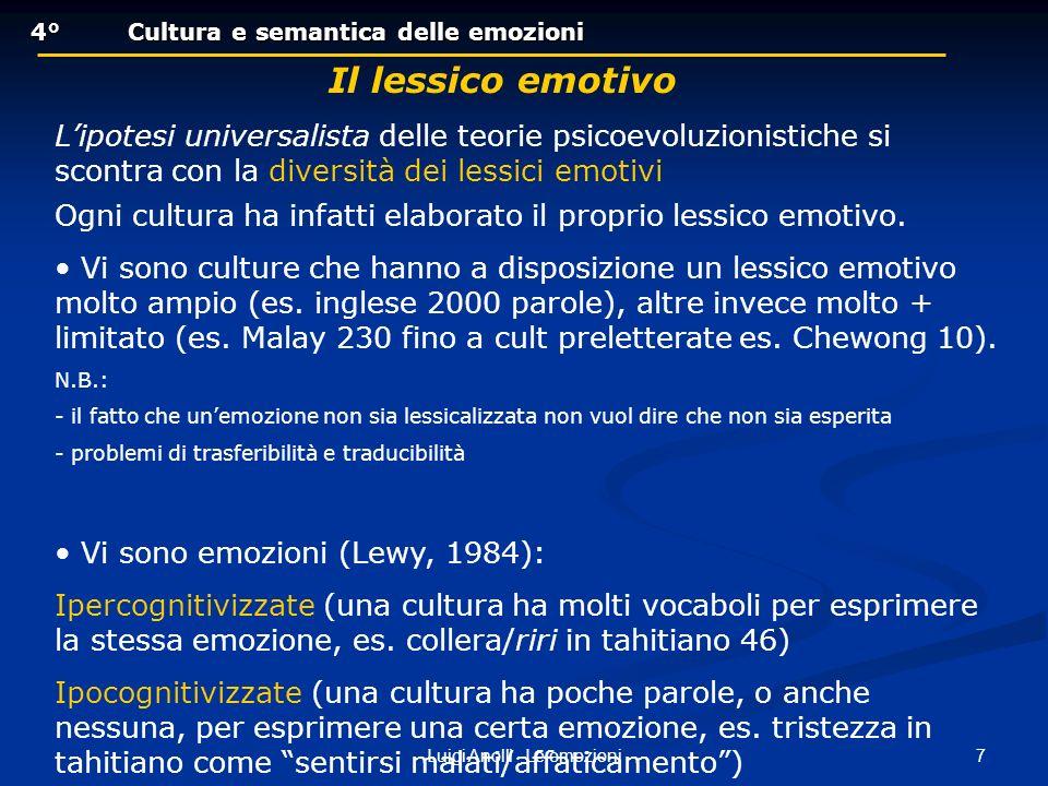 18Luigi Anolli - Le emozioni 4°Cultura e semantica delle emozioni 4°Cultura e semantica delle emozioni LE CATEGORIE DELLA VERGOGNA E DELLORGOGLIO Sono emozioni autoconsapevoli, poiché riguardano il proprio sé e il grado di autostima del soggetto; sono emozioni sociali e morali, in quanto risentono profondamente delle norme e degli standard della cultura di riferimento - la categoria spagnola orgullo è caratterizzata dallincremento del rispetto da parte dei familiari, ma anche dallesigenza di controllare le reazioni di esultanza per il proprio successo - la categoria lajya, indicante la vergogna nella cultura hindu, è lequivalente semantico dellautocontrollo e implica il rispetto dei doveri legati al proprio ruolo sociale, nonché il rimanere in silenzio e con gli occhi abbassati in presenza dei superiori