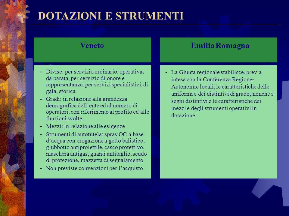 DOTAZIONI E STRUMENTI Lombardia -Divise: ordinaria, di servizio e di rappresentanza; -Gradi: in relazione al profilo e alla funzioni conferite; -Mezzi