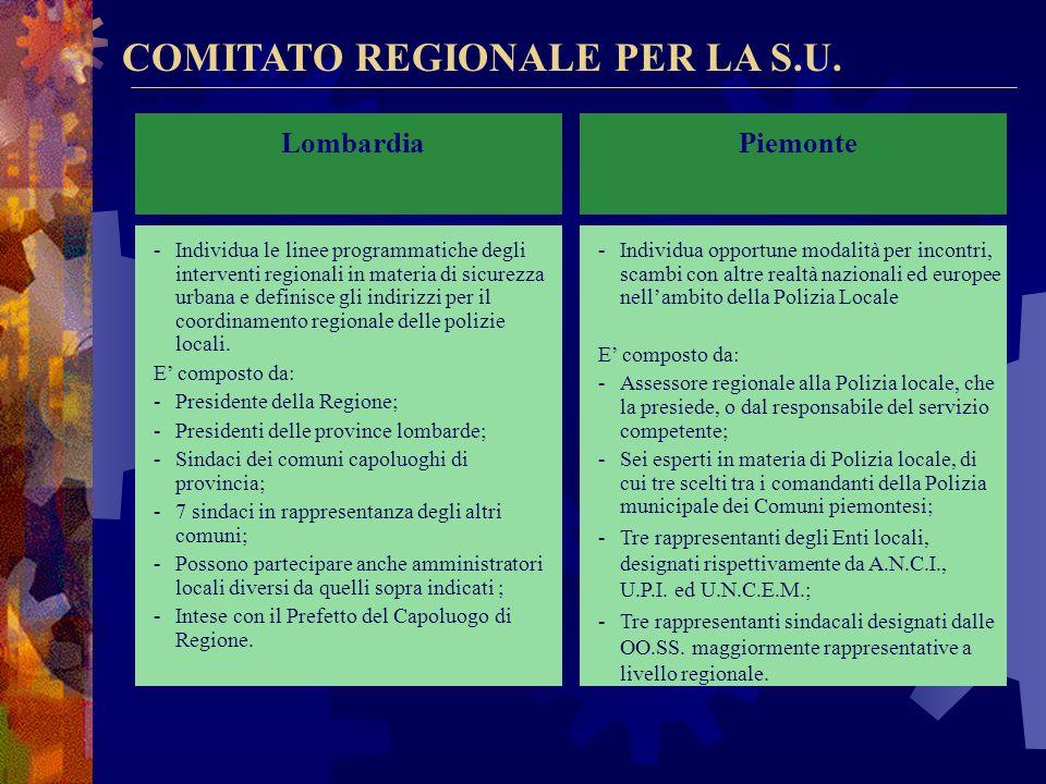 COORDINAMENTO REGIONALE Veneto Coordinamento tra enti territoriali Riferimento regionale: Giunta regionale tramite Osservatorio regionale per la sicur