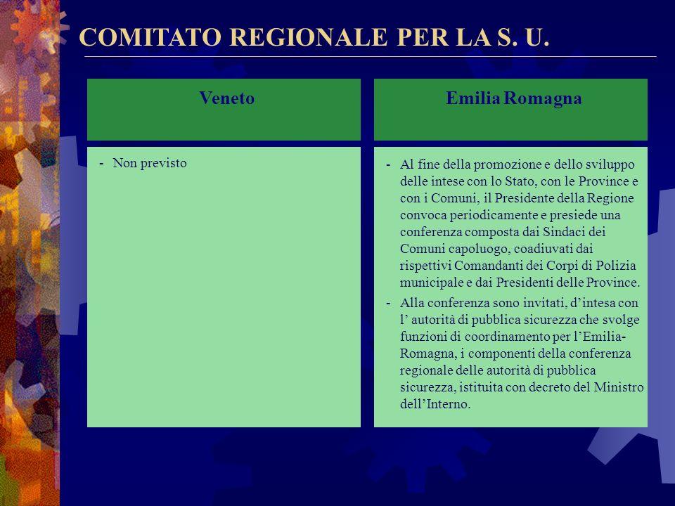 COMITATO REGIONALE PER LA S.U. Lombardia -Individua le linee programmatiche degli interventi regionali in materia di sicurezza urbana e definisce gli